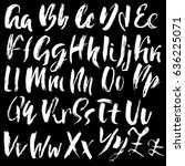 hand drawn dry brush font.... | Shutterstock .eps vector #636225071
