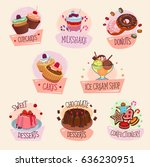 desserts and pastry cakes... | Shutterstock .eps vector #636230951