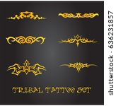 tribal tattoo and ornament set | Shutterstock .eps vector #636231857