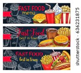 fast food restaurant menu... | Shutterstock .eps vector #636231875