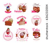 pastry cakes and cupcakes... | Shutterstock .eps vector #636232004