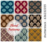 damask floral seamless vector... | Shutterstock .eps vector #636232355