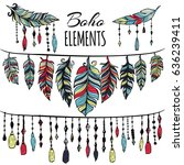 hand drawn boho collection with ... | Shutterstock . vector #636239411