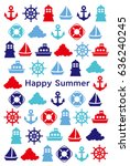 a greeting card of marine icons. | Shutterstock .eps vector #636240245