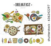 food set. breakfast kit.... | Shutterstock .eps vector #636242297