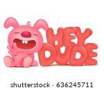 sitting pink bunny cartoon...