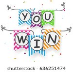 win sign with bunting flags | Shutterstock . vector #636251474