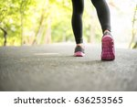 young sport woman running on... | Shutterstock . vector #636253565