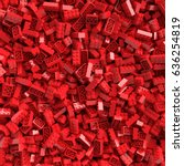 Red Toy Bricks Background. 3d...