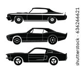american muscle car silhouette... | Shutterstock .eps vector #636266621