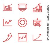 graph icons set. set of 9 graph ... | Shutterstock .eps vector #636266807