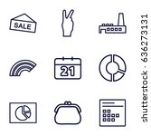 trendy icons set. set of 9...
