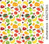fruits and vegetables seamless... | Shutterstock . vector #636275261