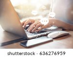 women's hand typing on keyboard ... | Shutterstock . vector #636276959