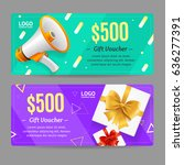 gift voucher card set template... | Shutterstock .eps vector #636277391