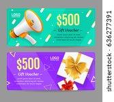 gift voucher card set template... | Shutterstock .eps vector #636277391