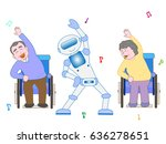 the exercises of a robot and... | Shutterstock .eps vector #636278651