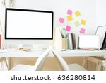 front view of hipster workplace ... | Shutterstock . vector #636280814