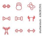 barbell icons set. set of 9... | Shutterstock .eps vector #636281501