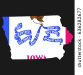 us state with flag for iowa | Shutterstock . vector #636282677