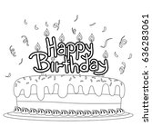 coloring book outlined birthday ... | Shutterstock .eps vector #636283061