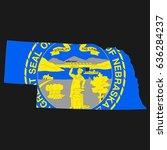 us state with flag for nebraska | Shutterstock . vector #636284237