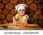 child cook pretty chubby cooks... | Shutterstock . vector #636284639
