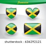 glossy jamaica flag icon set... | Shutterstock .eps vector #636292121