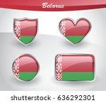 glossy belarus flag icon set... | Shutterstock .eps vector #636292301