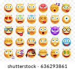 set of 30 cute emoticons on... | Shutterstock .eps vector #636293861