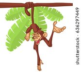 cartoon monkey hanging from the ... | Shutterstock .eps vector #636297449