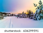 winter snow road to winter snow ... | Shutterstock . vector #636299591