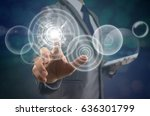 businessman pointing the modern ... | Shutterstock . vector #636301799
