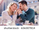 flirting in a cafe. beautiful... | Shutterstock . vector #636307814