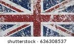 grunge union jack. flag of... | Shutterstock . vector #636308537