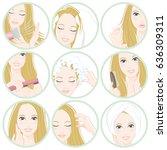 women who do hair care   Shutterstock .eps vector #636309311