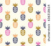 seamless pattern with pineapples | Shutterstock .eps vector #636318614