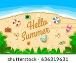 hello summer illustration... | Shutterstock .eps vector #636319631