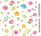 watercolor floral pattern with... | Shutterstock . vector #636323564
