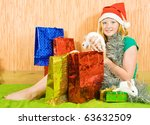 new year girl with two pet... | Shutterstock . vector #63632509