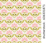 seamless retro pattern with... | Shutterstock .eps vector #636331871