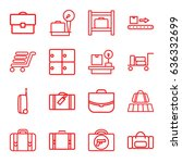 baggage icons set. set of 16... | Shutterstock .eps vector #636332699