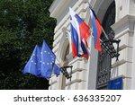 ljubljana  city view  eu flag ... | Shutterstock . vector #636335207
