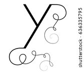calligraphic letter y with... | Shutterstock .eps vector #636335795