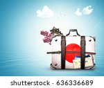 japan  retro suitcase with a... | Shutterstock . vector #636336689