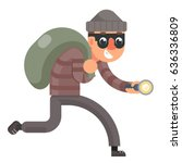 running with bag loot and... | Shutterstock .eps vector #636336809