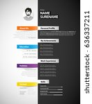 creative cv template with paper ... | Shutterstock .eps vector #636337211