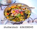 wedding reception buffet food   Shutterstock . vector #636338345