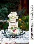 cutsom wedding cake at reception   Shutterstock . vector #636339611