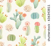 seamless pattern with cactus ... | Shutterstock .eps vector #636343811